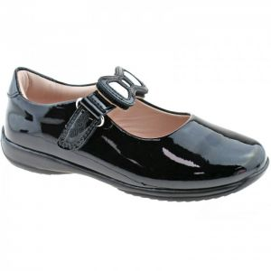 Lelli Kelly Black Patent Bow Colourissima School Shoes (F Fitting )