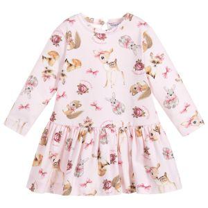 Monnalisa Girls Pink Cotton Woodland Animals Dress