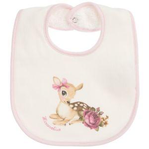Monnalisa Baby Girls Ivory Baby Deer Cotton Bib