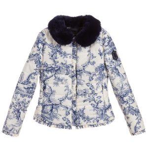 Monnalisa Ivory & Blue Puffer Jacket