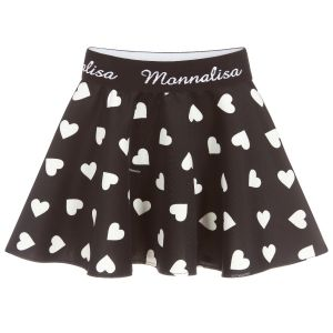 Monnalisa Girls Black Jersey Heart Skirt