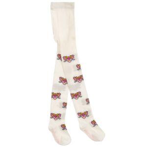 Monnalisa Girls Ivory Cotton Pink Panther Tights