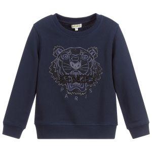 Kenzo Kids Blue Cotton Tiger Beaded Sweatshirt