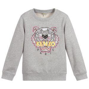 Kenzo Kids Grey, Pink and Yellow Cotton Iconic Tiger Sweatshirt