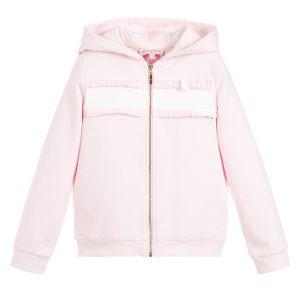 Lili Gaufrette Girls Pink Cotton Zip-Up Frill Top
