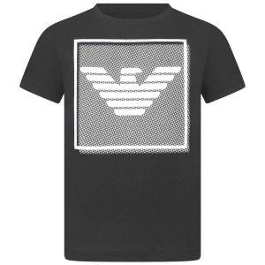 Emporio Armani Boys Navy Cotton Velvet Eagle Logo T-Shirt