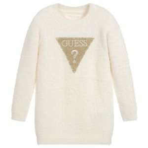 Guess Ivory Fluffy Knitted Dress