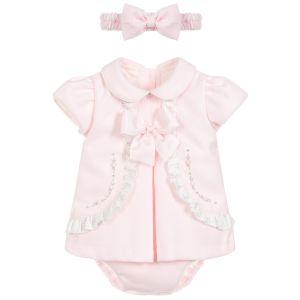 Pretty Originals Girls Pink 3 Piece Bow Dress Set