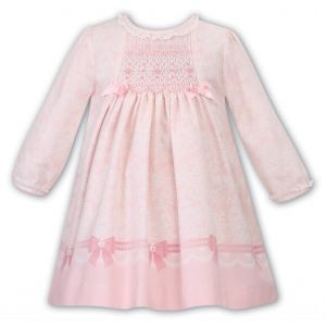 Sarah Louise Girls Traditional Peach Smocked Floral Pattern Dress