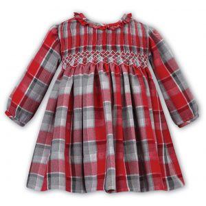 Sarah Louise Girls Tartan Smocked Dress