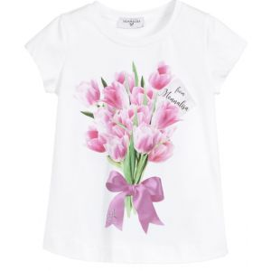 Monnalisa Girls White Cotton Pink and Green Floral Print T-Shirt