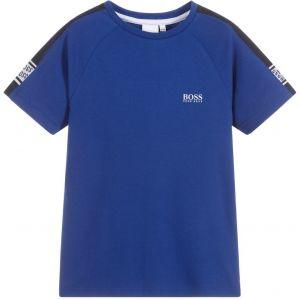 BOSS Kidswear Boys Navy Blue Taped Repeat Logo T-Shirt
