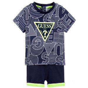 Guess Blue Cotton Baby Shorts Set
