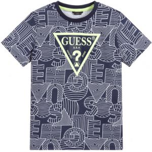 Guess Younger Boys Blue Cotton Graphic Logo T-Shirt