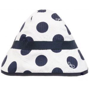 Lili Gaufrette White & Navy Blue Cotton Spotted Hat
