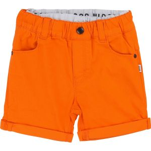 BOSS Boys Orange Cotton Double Waistband Logo Shorts
