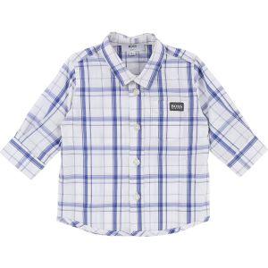 Boss White-Blue Check Long Sleeve Shirt