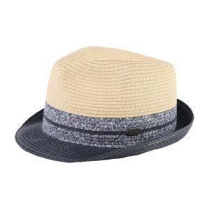 Boss Navy-Sand Straw Effect Hat