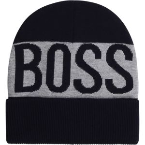 BOSS Kidswear Navy & Grey Logo Beanie