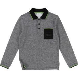 BOSS Boy's Grey Cotton Piqué Polo Shirt