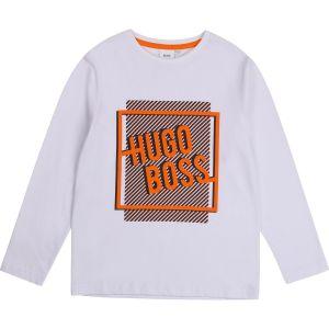 BOSS Kidswear White Cotton Black and Orange Logo Top
