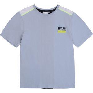 BOSS Kidswear Boys Pale Blue Cotton Logo T-Shirt