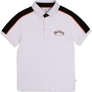 BOSS Kidswear White, Black and Orange Cotton Polo Shirt