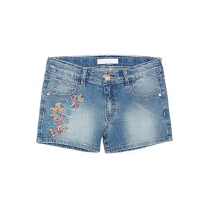 Guess Girl's Denim Shorts With Floral Embroidery