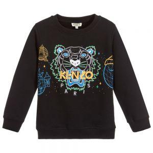 KENZO KIDS Black Cotton Iconic Tiger Sweatshirt
