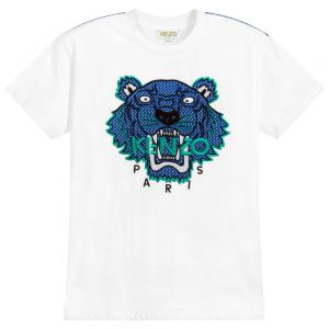 Kenzo Kids Boys White Cotton T-Shirt With Blue Iconic TIGER