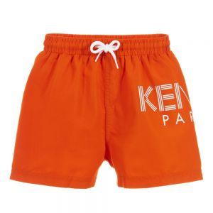 Kenzo Kids Boys Orange Logo Swim Shorts