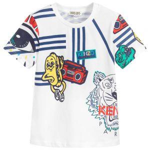 Kenzo Kids Boys White Cotton Stereo Print T-Shirt