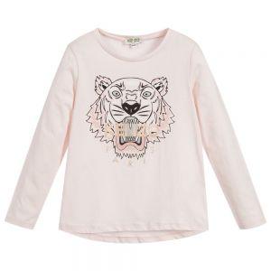 KENZO KIDS Girls Pink Cotton Iconic Tiger Long Sleeved Top