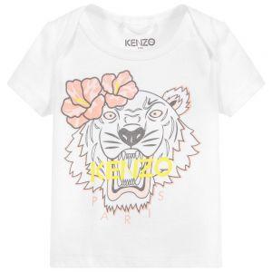 Kenzo Kids Baby Organic Cotton White Iconic Tiger T-Shirt
