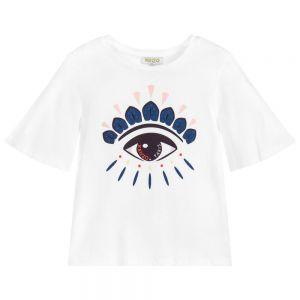 Kenzo Kids Girls White Cotton EYE T-Shirt