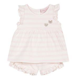 Lili Gaufrette Pink & White Striped T-Shirt and Shorts Set