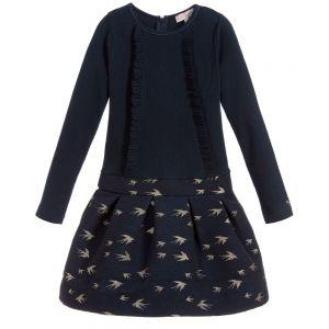 LILI GAUFRETTE Blue & Gold Cotton Dress