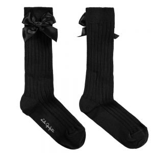 LILI GAUFRETTE Girls Black Cotton Long Socks