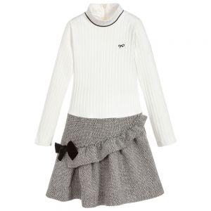 LILI GAUFRETTE Girls Ivory & Silver Dress