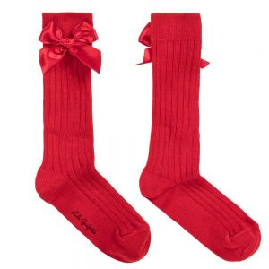LILI GAUFRETTE Girls Red Cotton Long Socks
