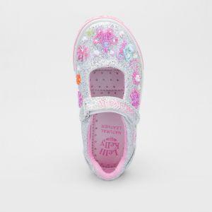 Lelli Kelly LK5076 Silver Glitter Butterfly Adjustable Dolly Shoes