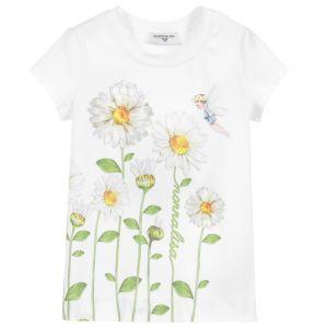 Monnalisa Girls White Cotton Fairy Print T-Shirt