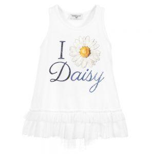 Monnalisa White Cotton Daisy Top