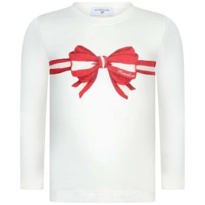 Monnalisa Girls Ivory Cotton Red Bow Top