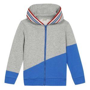 Kenzo Kids Grey & Blue Logo Zip-Up Top