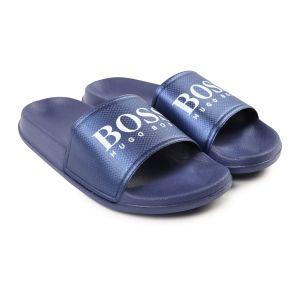 BOSS Boys Blue Logo Sliders