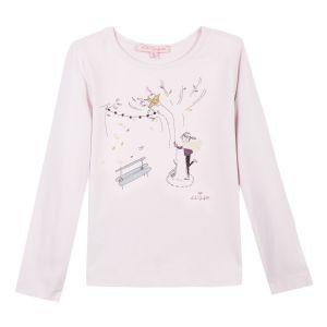 LILI GAUFRETTE Girls Pink Cotton Long Sleeved Top