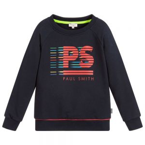 Paul Smith Junior Neon Zebra Boys Blue Cotton Tidian Sweatshirt