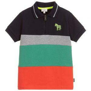 Paul Smith Junior Neon Zebra Boys Cotton Piqué Taka Polo Shirt
