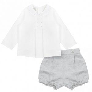 Paz Rodriguez Baby Boy's Grey and Ivory Shorts Set